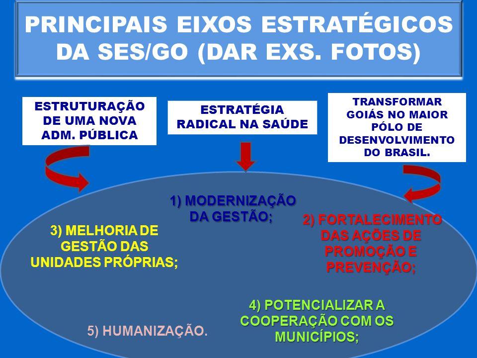 PRINCIPAIS EIXOS ESTRATÉGICOS DA SES/GO (DAR EXS. FOTOS)
