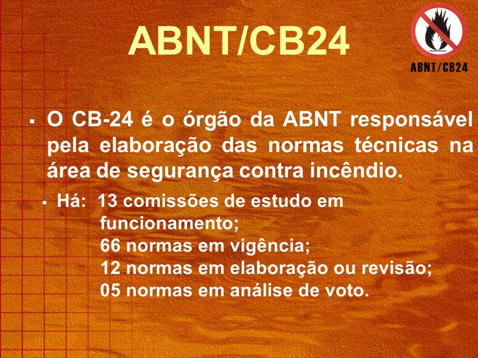 ABNT/CB24 O CB-24 é o órgão da ABNT responsável pela elaboração das normas técnicas na área de segurança contra incêndio.