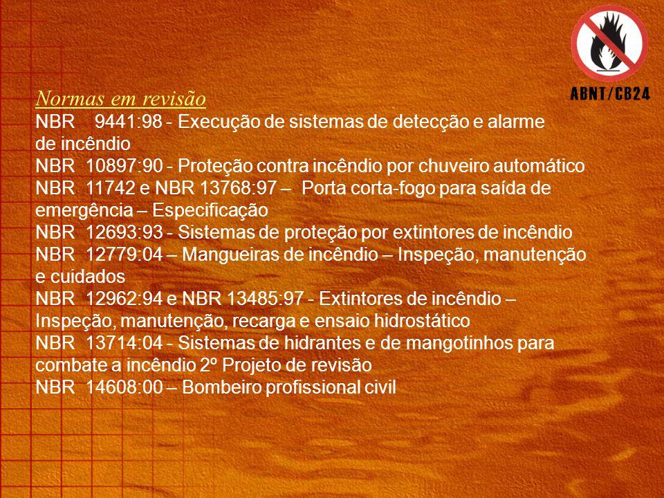 Normas em revisão NBR 9441:98 - Execução de sistemas de detecção e alarme. de incêndio.