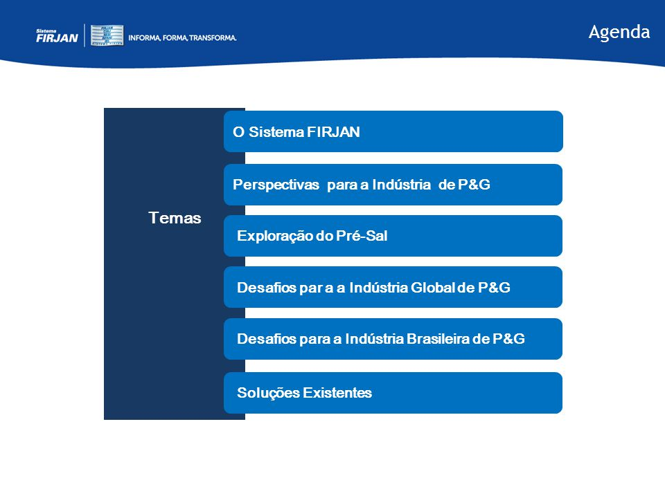 Agenda Temas O Sistema FIRJAN Perspectivas para a Indústria de P&G