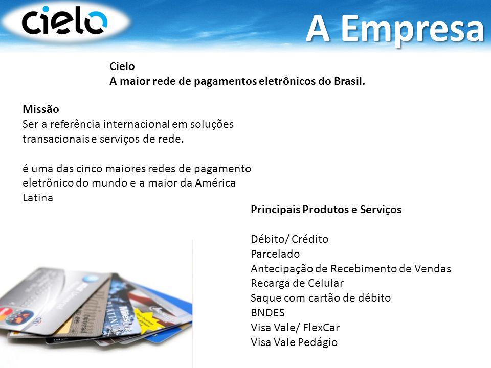 A Empresa Cielo A maior rede de pagamentos eletrônicos do Brasil.