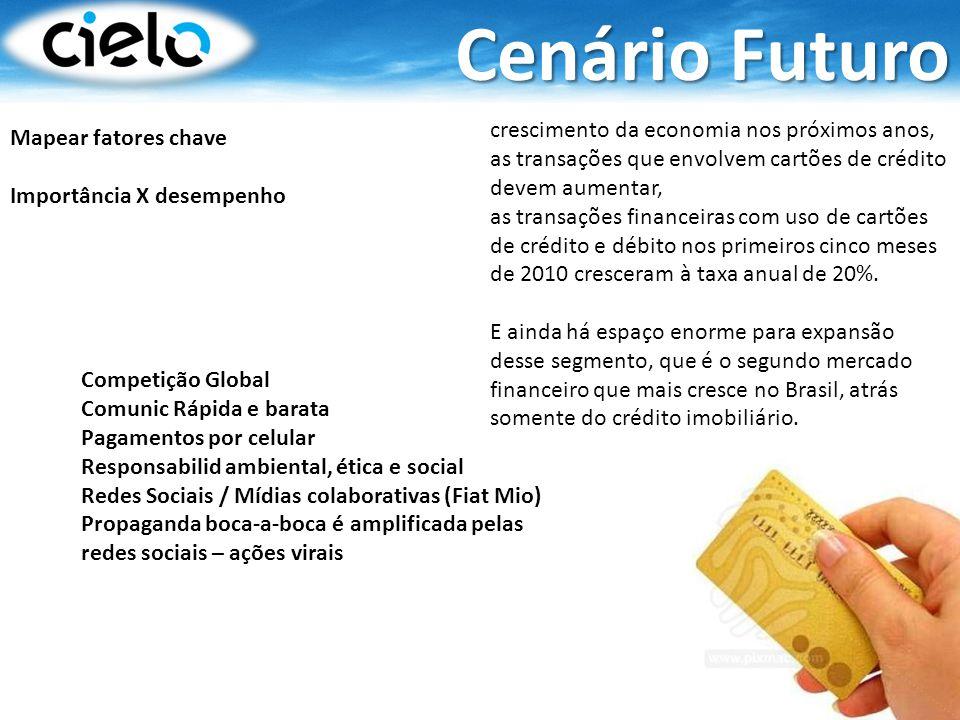 Cenário Futuro crescimento da economia nos próximos anos, as transações que envolvem cartões de crédito devem aumentar,