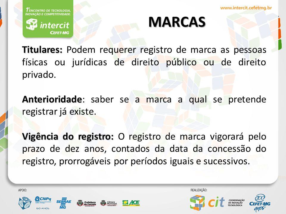 MARCAS Titulares: Podem requerer registro de marca as pessoas físicas ou jurídicas de direito público ou de direito privado.