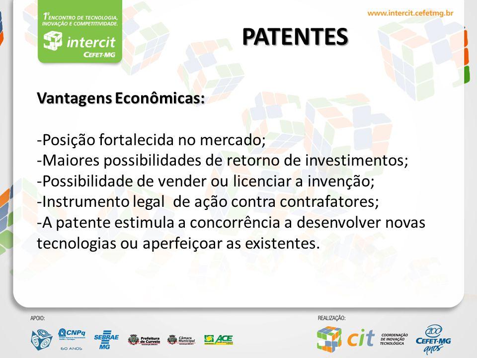 PATENTES Vantagens Econômicas: -Posição fortalecida no mercado;