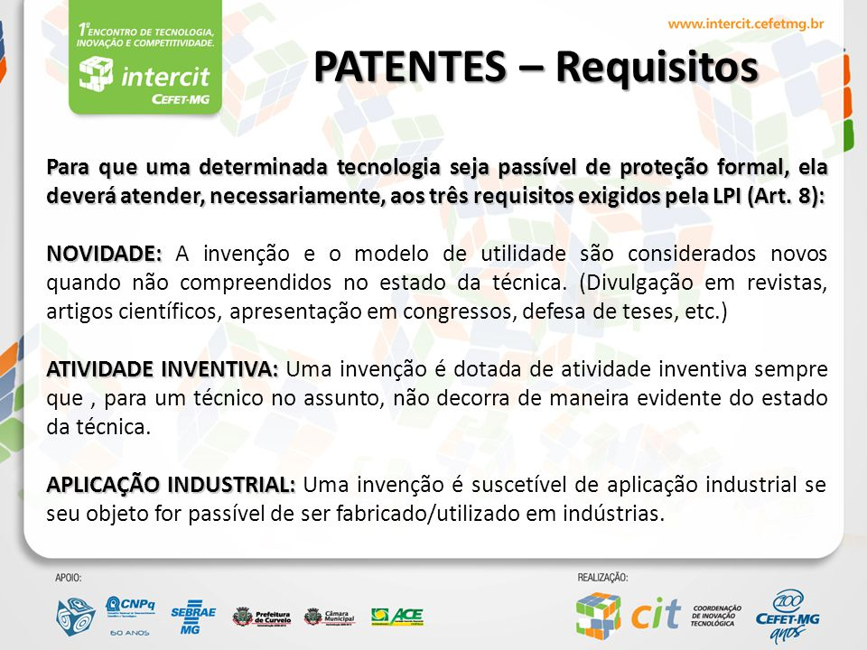 PATENTES – Requisitos