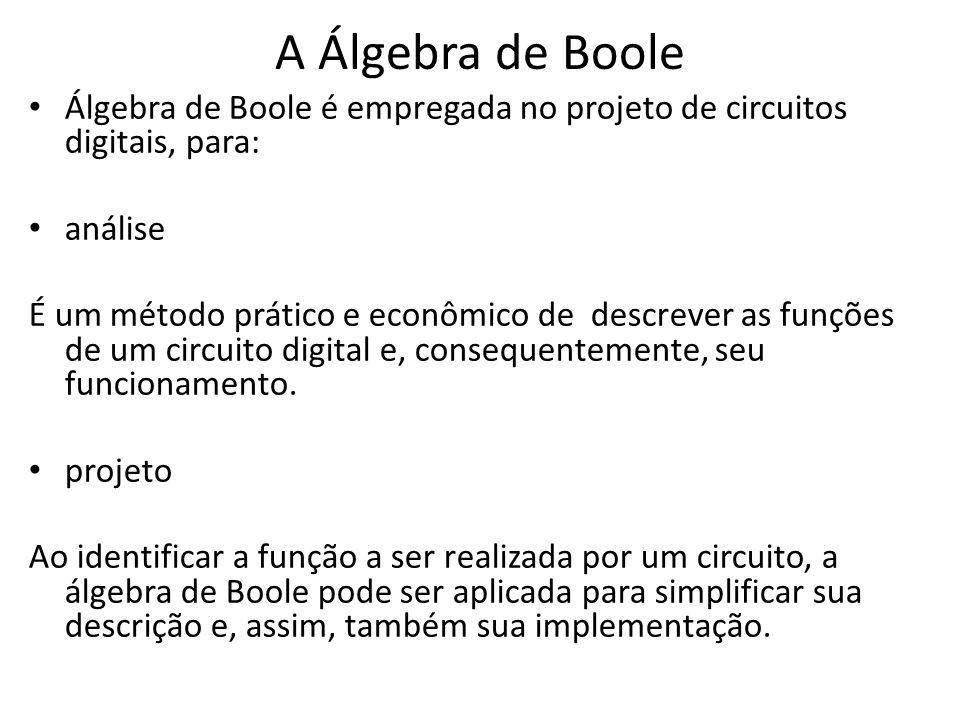 A Álgebra de Boole Álgebra de Boole é empregada no projeto de circuitos digitais, para: análise.