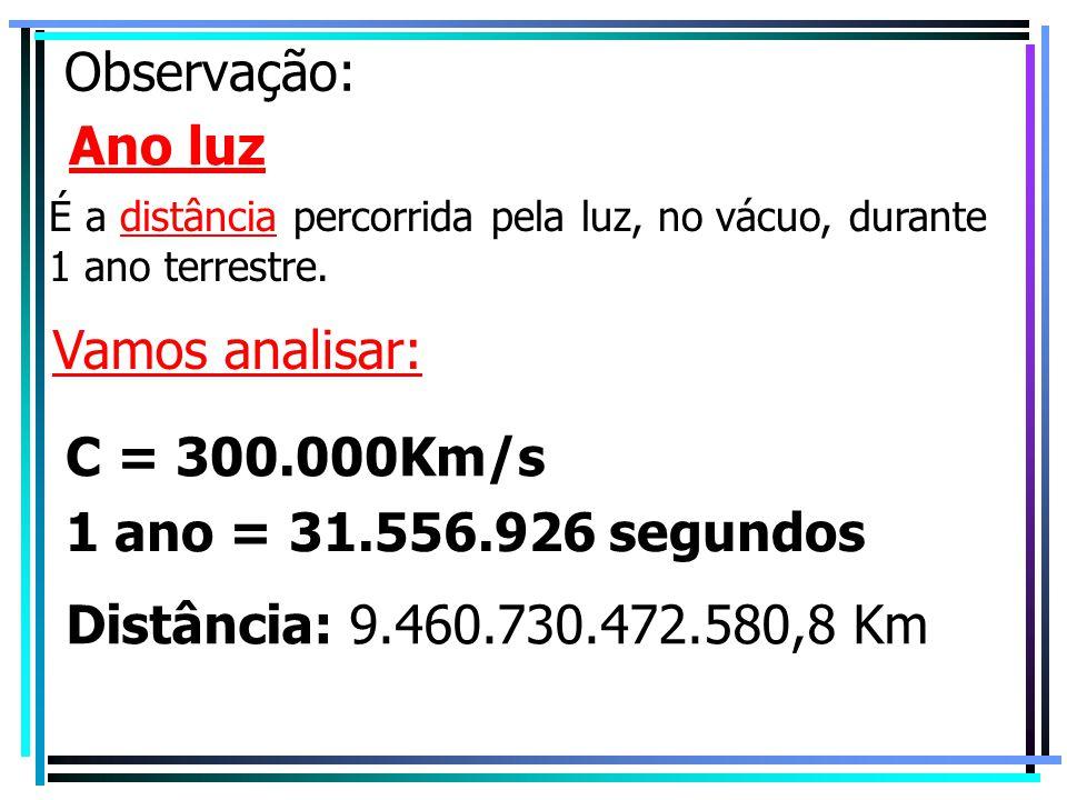 Observação: Ano luz Vamos analisar: C = 300.000Km/s
