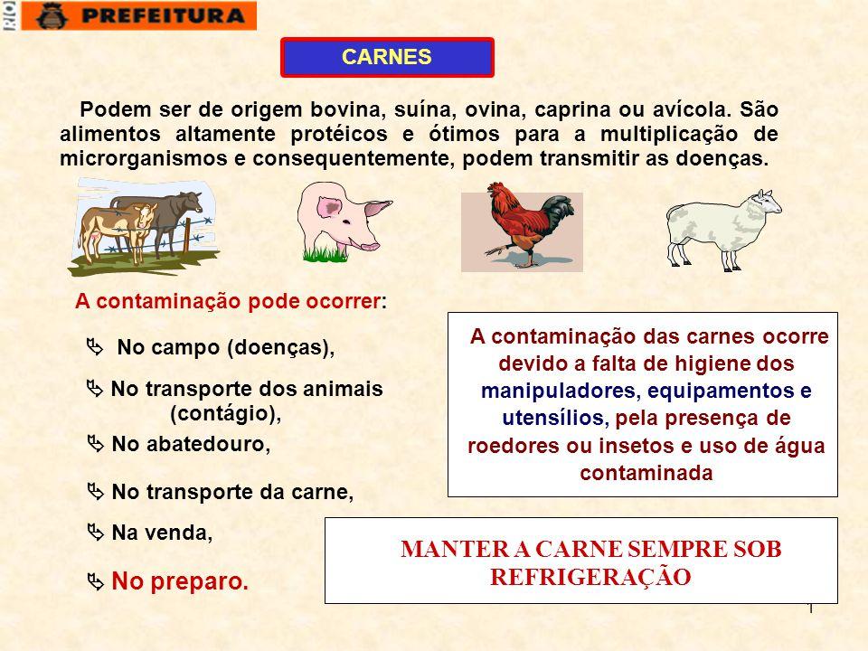 MANTER A CARNE SEMPRE SOB REFRIGERAÇÃO