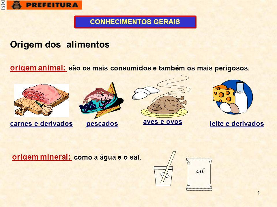 CONHECIMENTOS GERAIS Origem dos alimentos. origem animal: são os mais consumidos e também os mais perigosos.