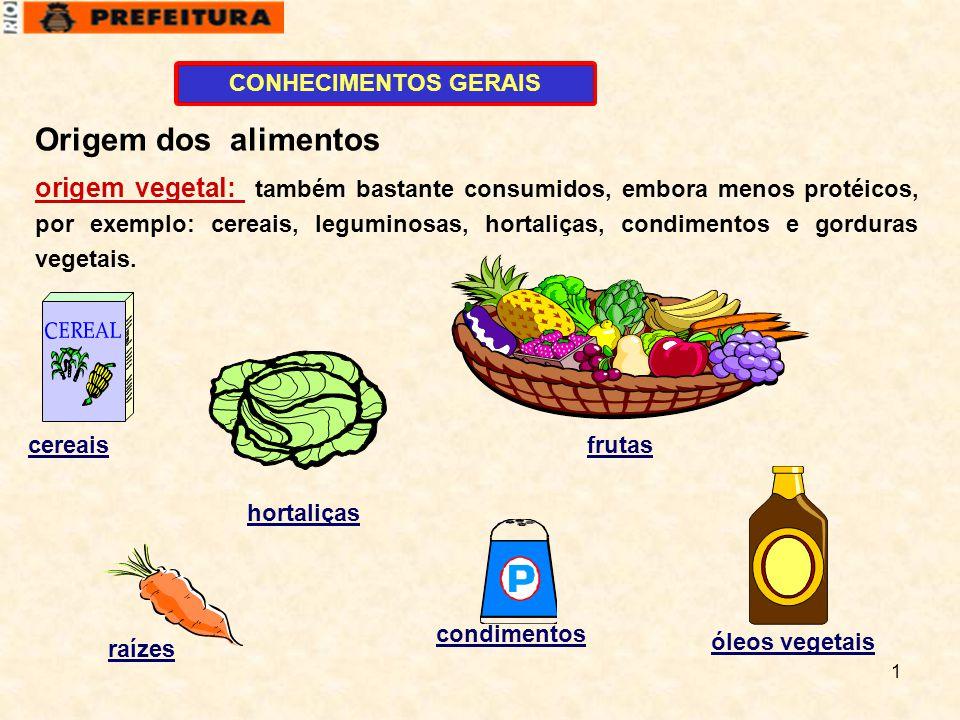 CONHECIMENTOS GERAIS Origem dos alimentos.