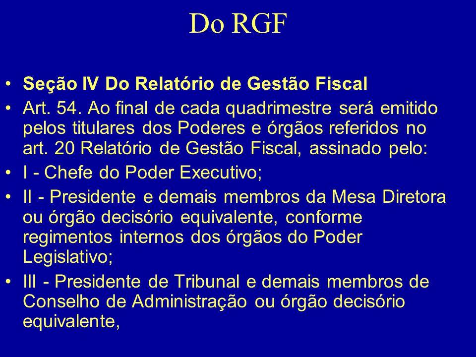 Do RGF Seção IV Do Relatório de Gestão Fiscal
