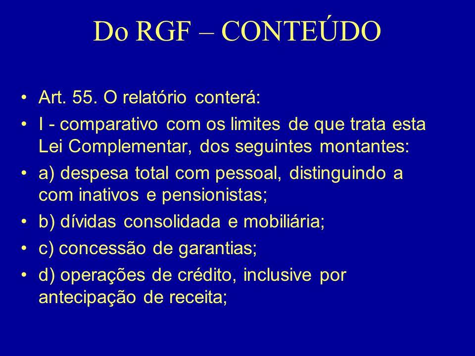 Do RGF – CONTEÚDO Art. 55. O relatório conterá: