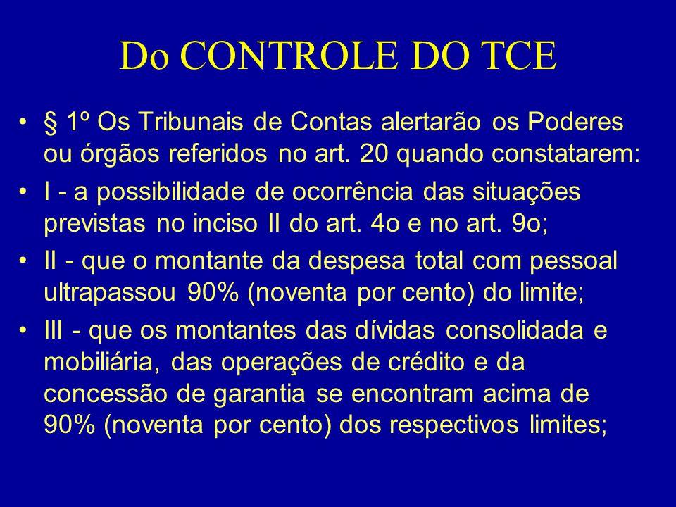 Do CONTROLE DO TCE § 1º Os Tribunais de Contas alertarão os Poderes ou órgãos referidos no art. 20 quando constatarem: