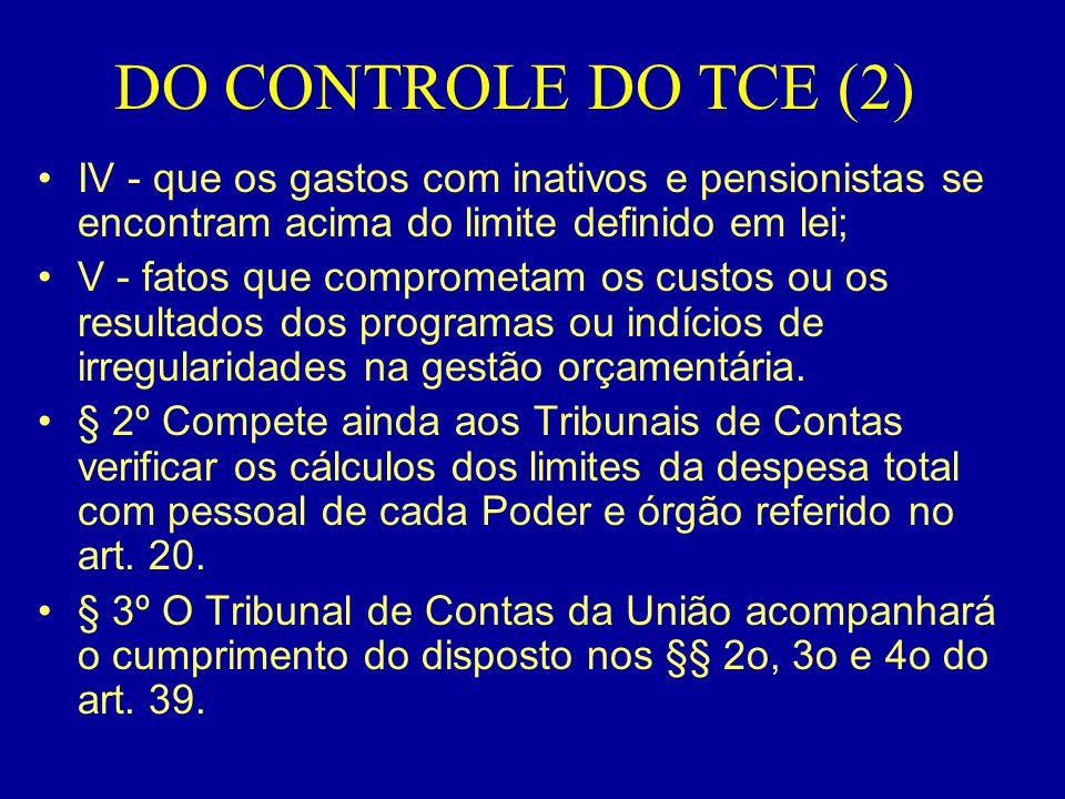 DO CONTROLE DO TCE (2) IV - que os gastos com inativos e pensionistas se encontram acima do limite definido em lei;