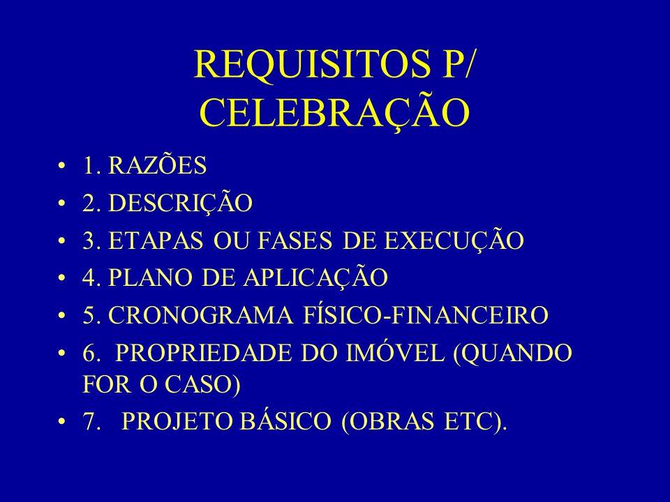 REQUISITOS P/ CELEBRAÇÃO