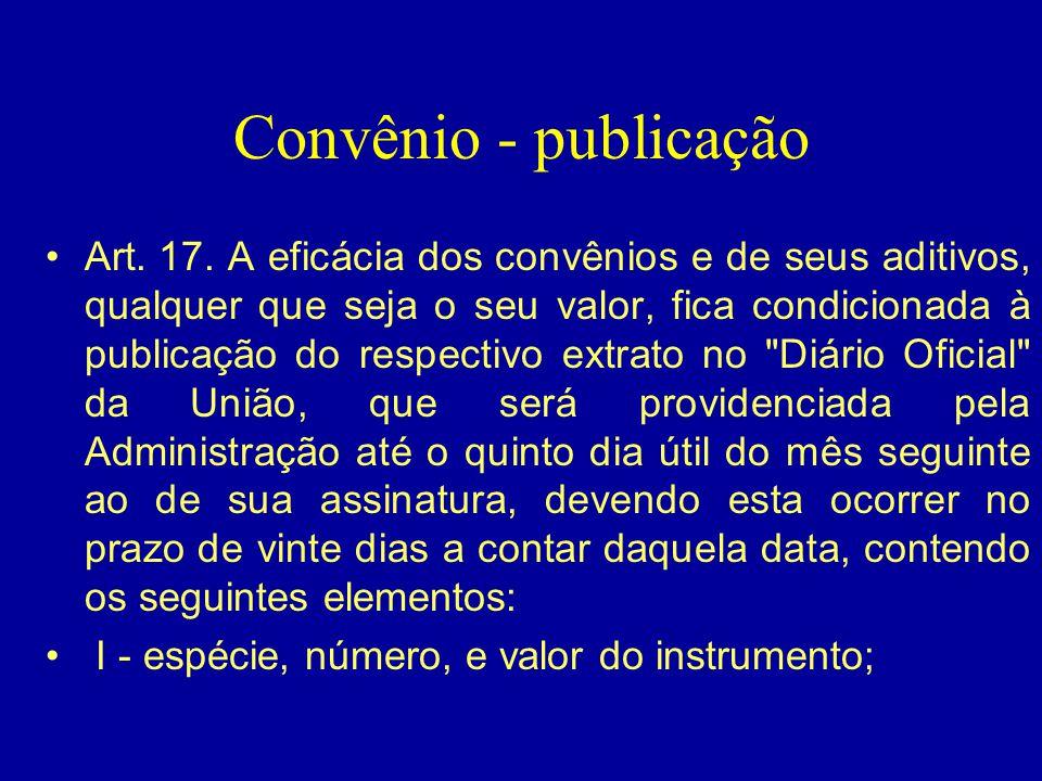 Convênio - publicação
