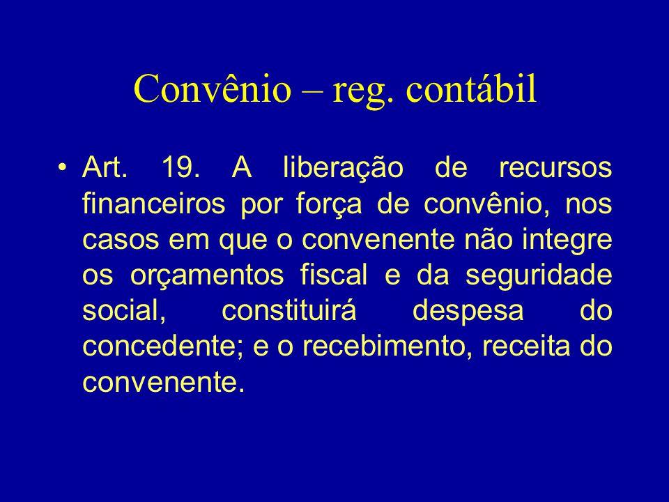 Convênio – reg. contábil