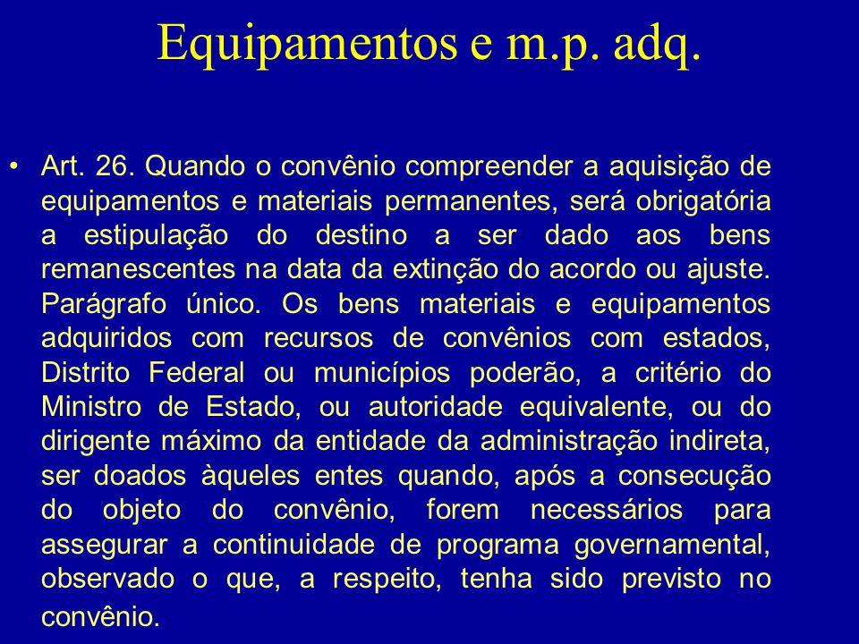 Equipamentos e m.p. adq.