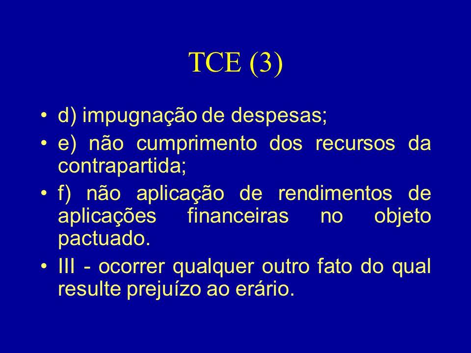 TCE (3) d) impugnação de despesas;