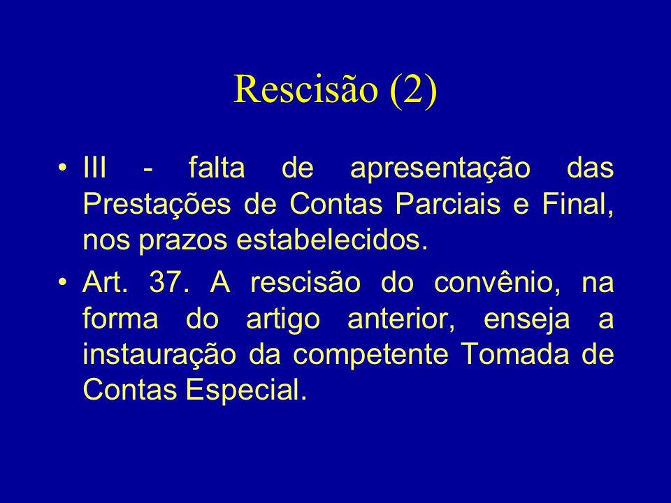 Rescisão (2) III - falta de apresentação das Prestações de Contas Parciais e Final, nos prazos estabelecidos.