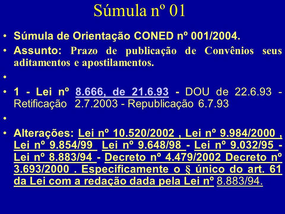 Súmula nº 01 Súmula de Orientação CONED nº 001/2004.
