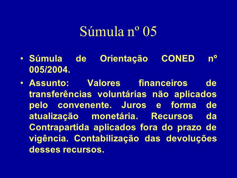 Súmula nº 05 Súmula de Orientação CONED nº 005/2004.