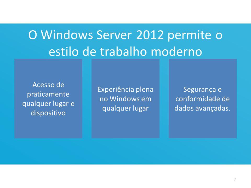 O Windows Server 2012 permite o estilo de trabalho moderno