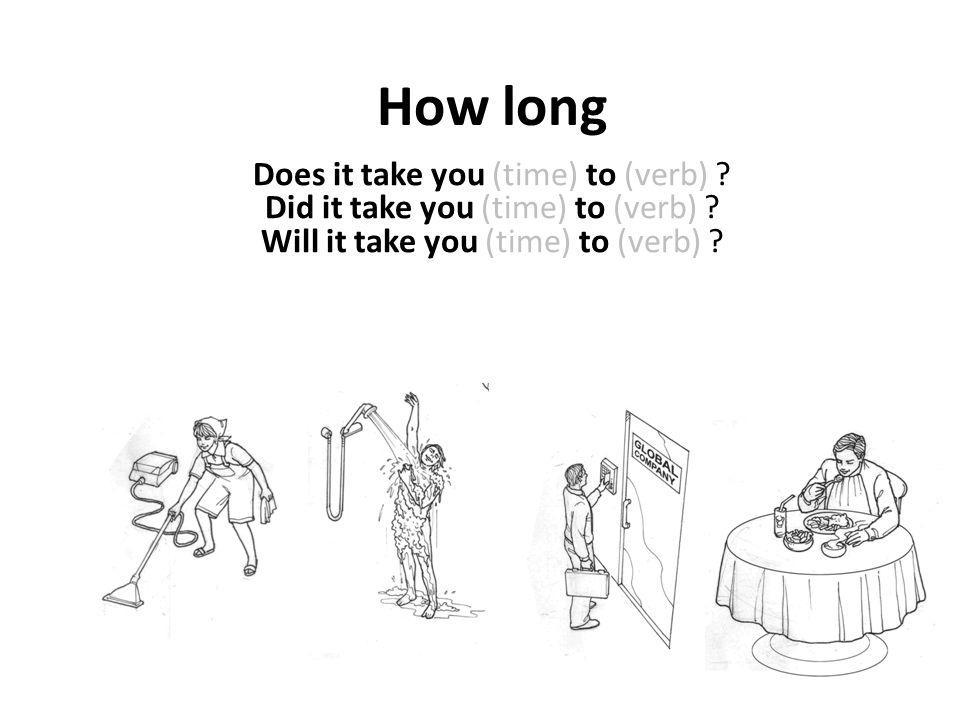 How long Does it take you (time) to (verb) . Did it take you (time) to (verb) .