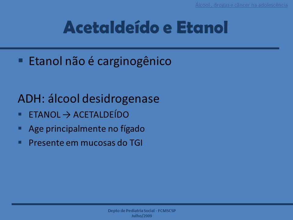 Acetaldeído e Etanol Etanol não é carginogênico