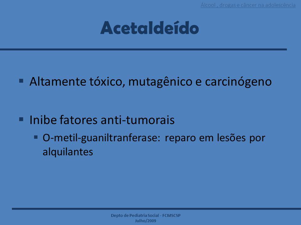 Acetaldeído Altamente tóxico, mutagênico e carcinógeno