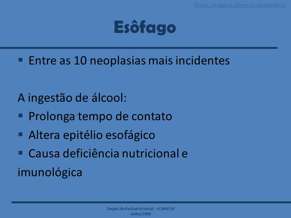 Esôfago Entre as 10 neoplasias mais incidentes A ingestão de álcool: