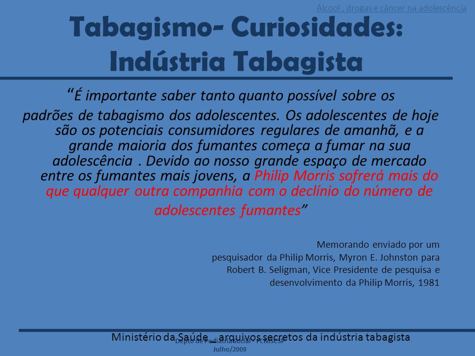 Tabagismo- Curiosidades: Indústria Tabagista
