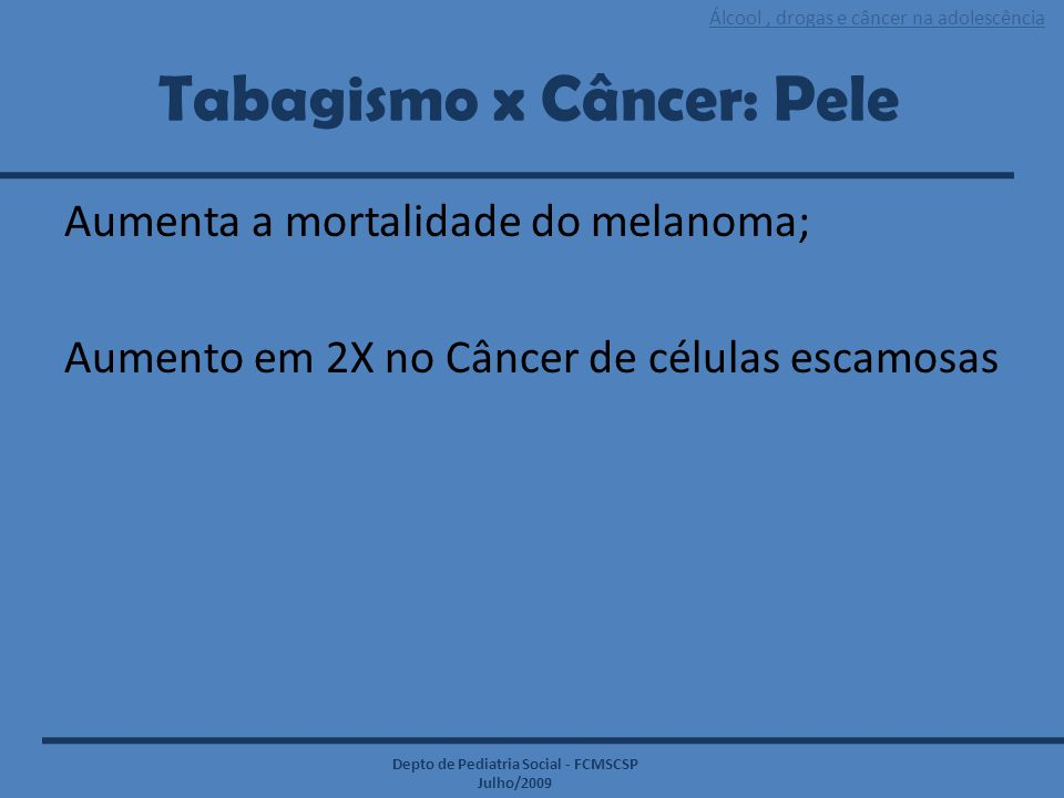 Tabagismo x Câncer: Pele