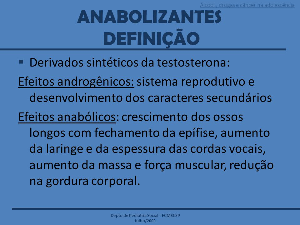 ANABOLIZANTES DEFINIÇÃO
