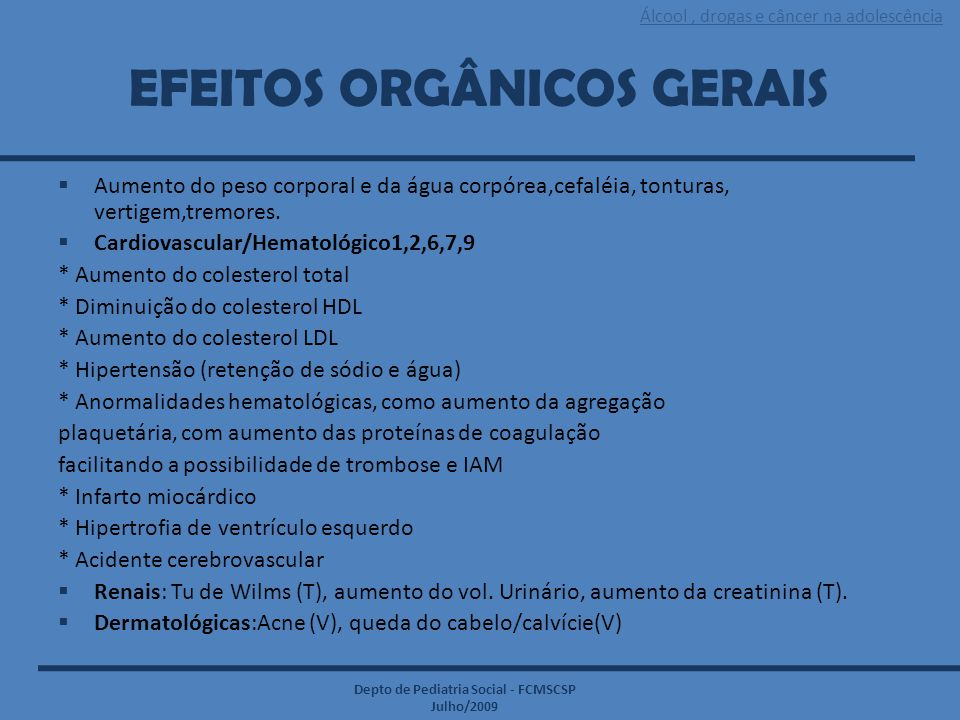EFEITOS ORGÂNICOS GERAIS