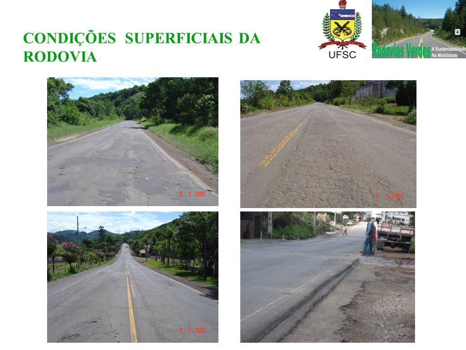 CONDIÇÕES SUPERFICIAIS DA RODOVIA