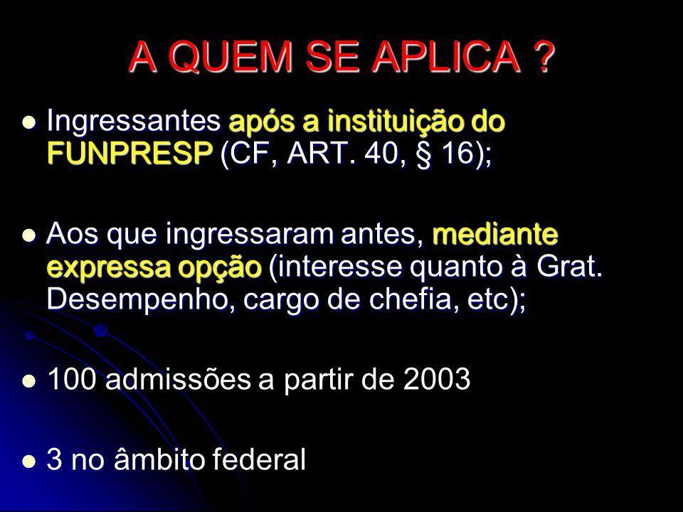 A QUEM SE APLICA Ingressantes após a instituição do FUNPRESP (CF, ART. 40, § 16);