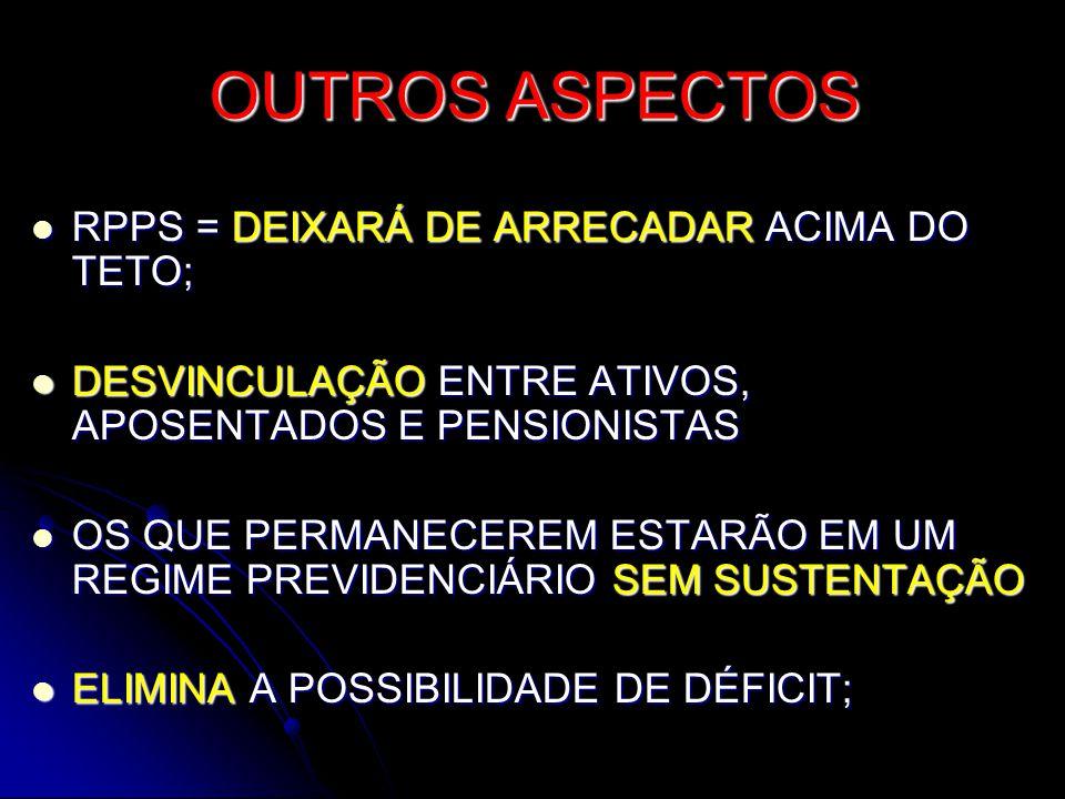 OUTROS ASPECTOS RPPS = DEIXARÁ DE ARRECADAR ACIMA DO TETO;