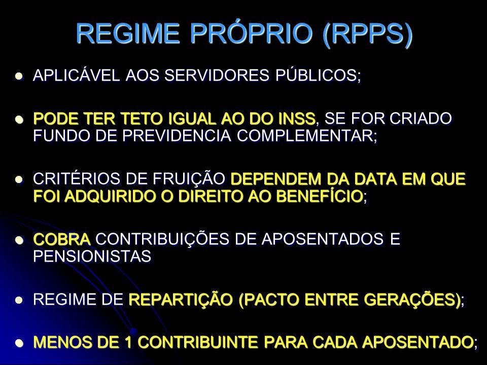 REGIME PRÓPRIO (RPPS) APLICÁVEL AOS SERVIDORES PÚBLICOS;