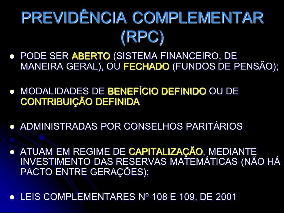PREVIDÊNCIA COMPLEMENTAR (RPC)