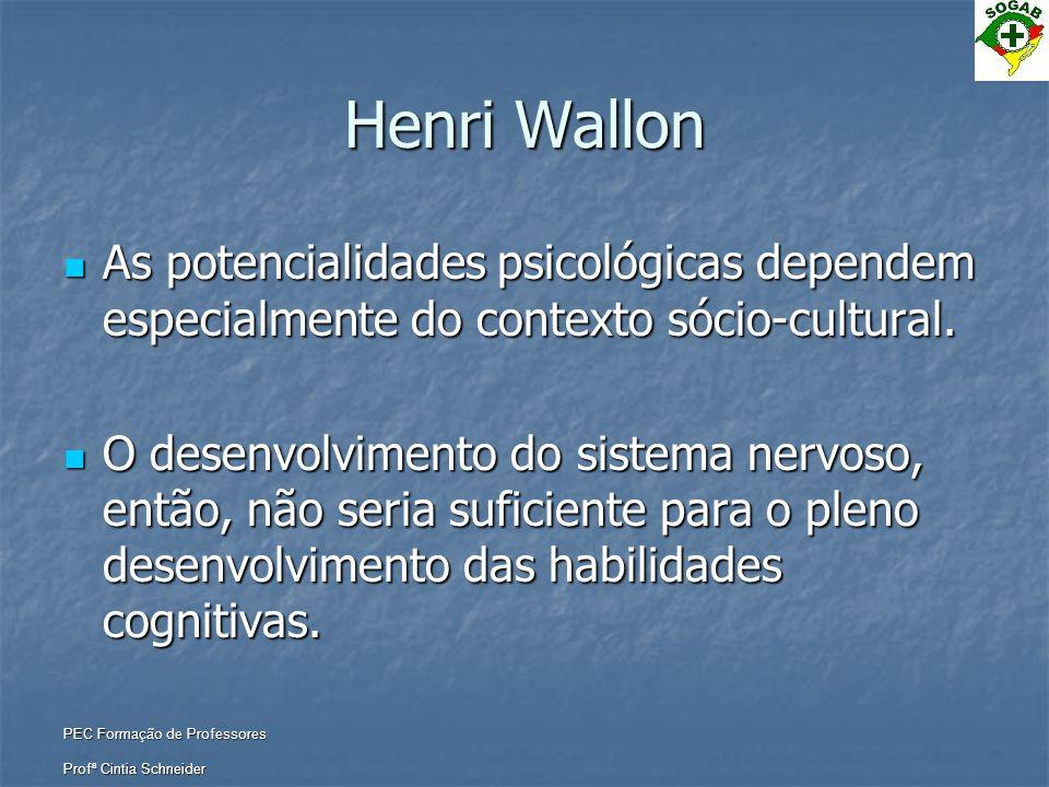 Henri Wallon As potencialidades psicológicas dependem especialmente do contexto sócio-cultural.
