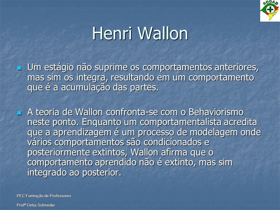 Henri Wallon Um estágio não suprime os comportamentos anteriores, mas sim os integra, resultando em um comportamento que é a acumulação das partes.