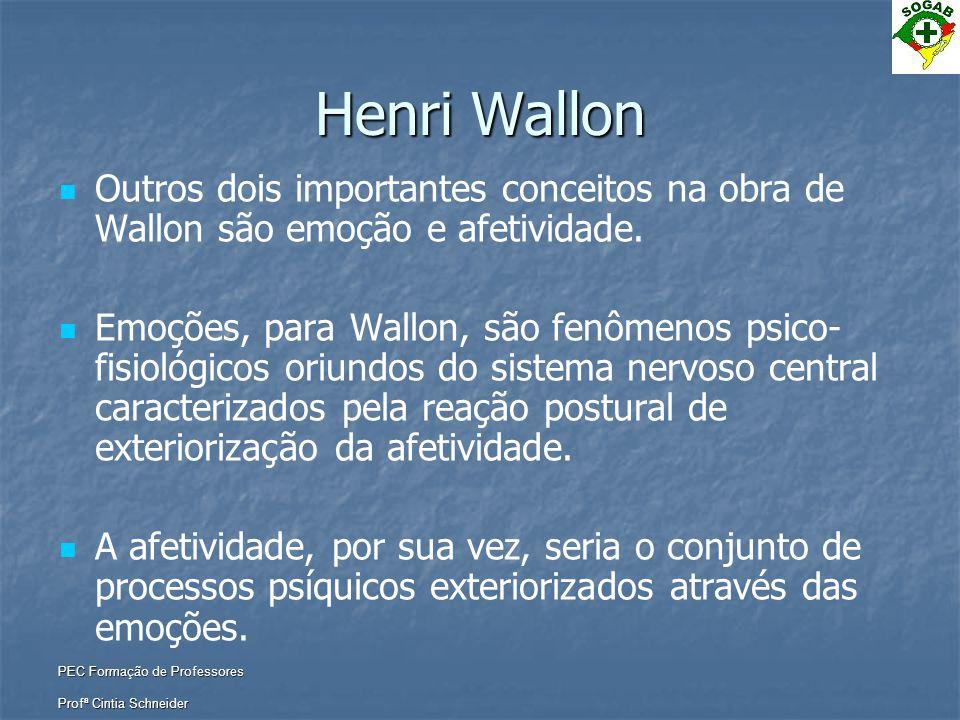 Henri Wallon Outros dois importantes conceitos na obra de Wallon são emoção e afetividade.