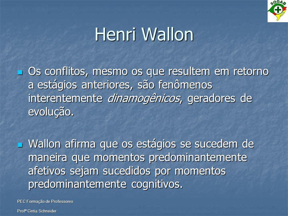 Henri Wallon Os conflitos, mesmo os que resultem em retorno a estágios anteriores, são fenômenos interentemente dinamogênicos, geradores de evolução.