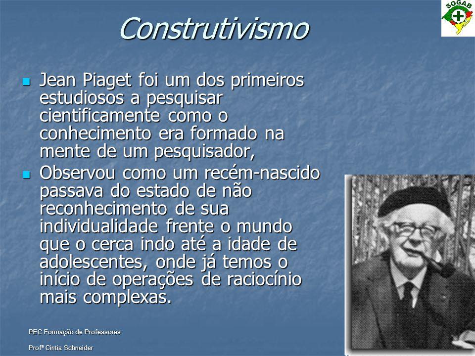 Construtivismo Jean Piaget foi um dos primeiros estudiosos a pesquisar cientificamente como o conhecimento era formado na mente de um pesquisador,