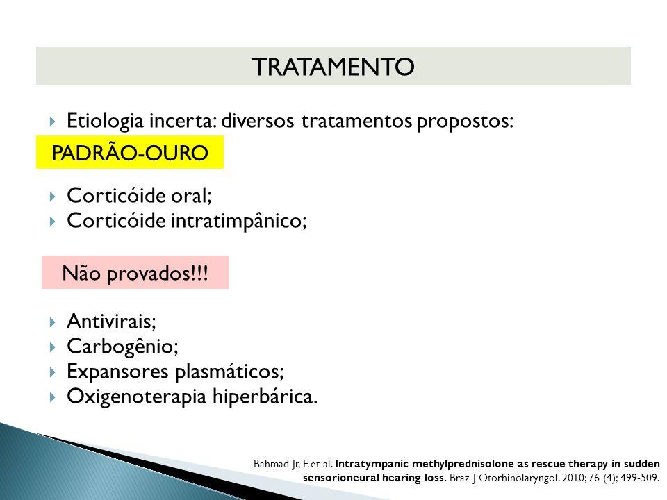 TRATAMENTO Etiologia incerta: diversos tratamentos propostos: