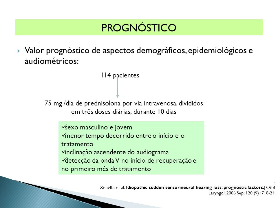 PROGNÓSTICO Valor prognóstico de aspectos demográficos, epidemiológicos e audiométricos: 114 pacientes.