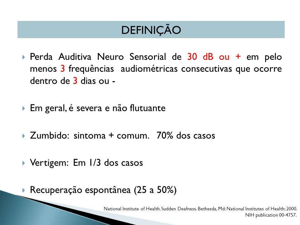 DEFINIÇÃO Perda Auditiva Neuro Sensorial de 30 dB ou + em pelo menos 3 frequências audiométricas consecutivas que ocorre dentro de 3 dias ou -
