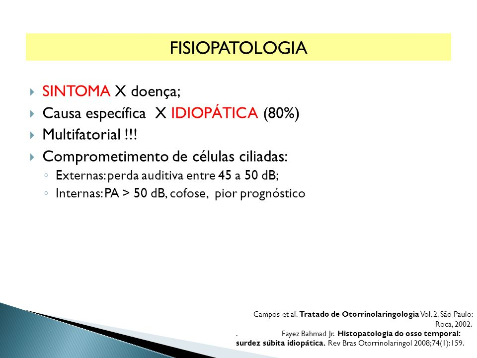 FISIOPATOLOGIA SINTOMA X doença; Causa específica X Idiopática (80%)