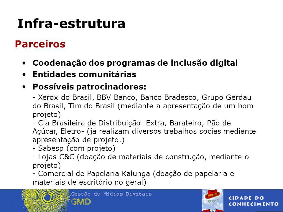 Parceiros Coodenação dos programas de inclusão digital